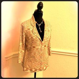 Anne Klein Woman's Cardigan pullover tan size L